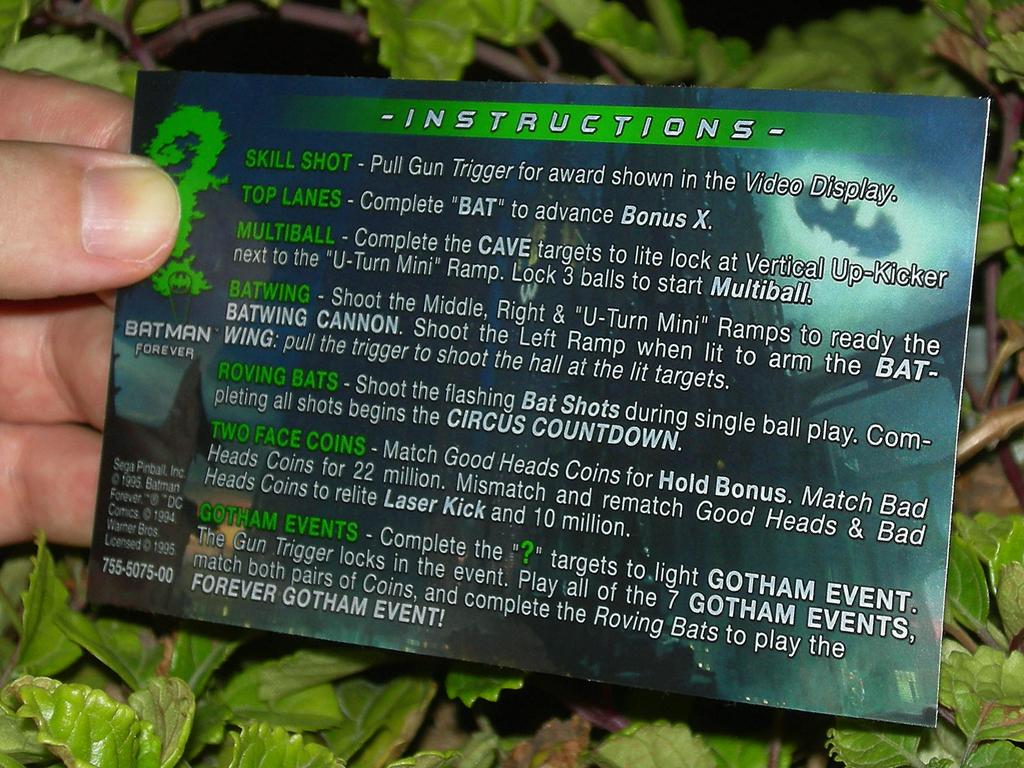 Batman Forever Custom Pinball Rules print2c