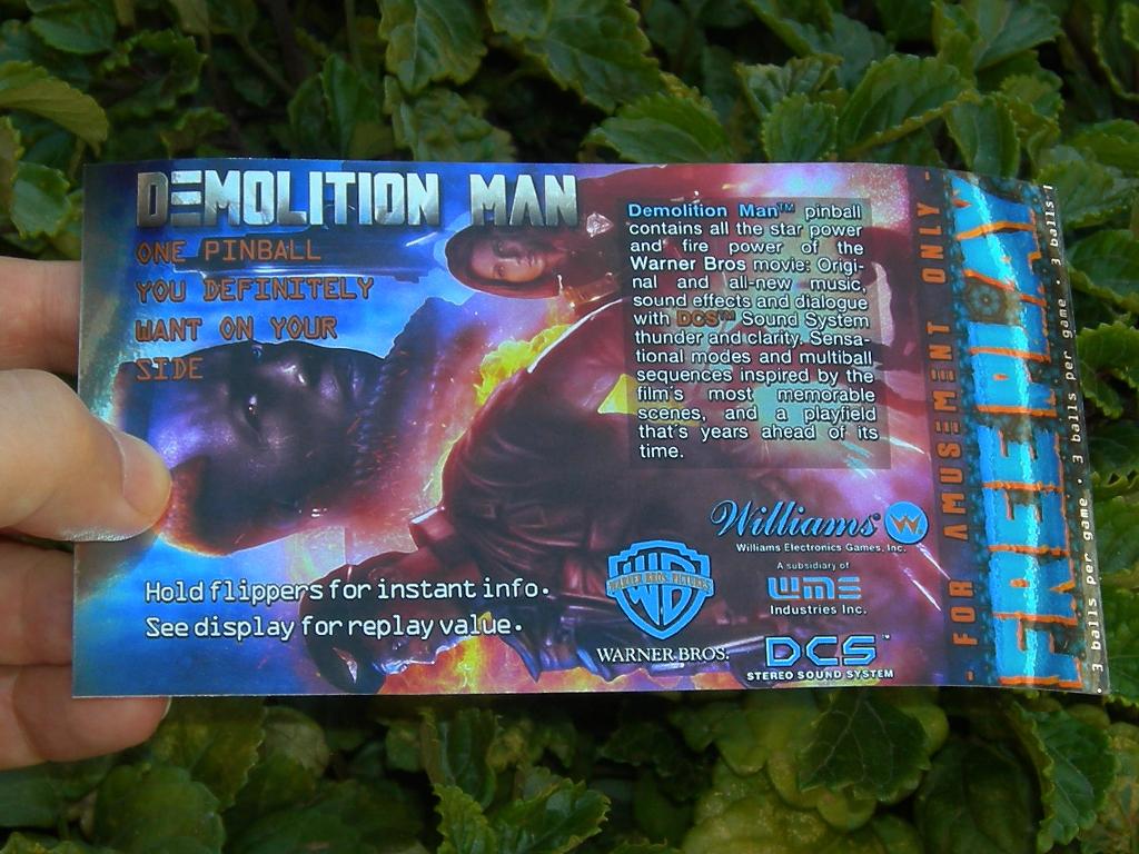 Demolition Man Pinball Card Customized Free Play print1