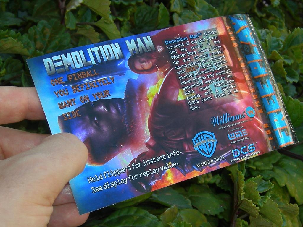 Demolition Man Pinball Card Customized Free Play print3
