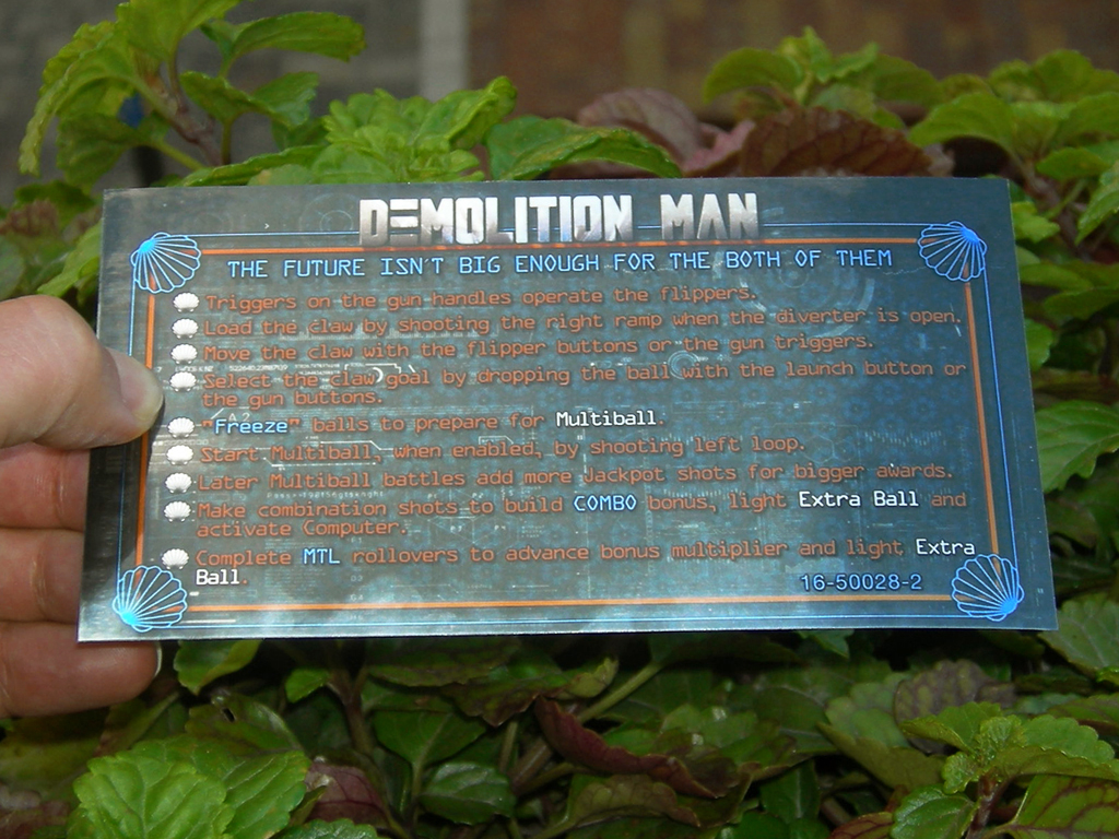 Demolition Man Pinball Card Customized Rules print1