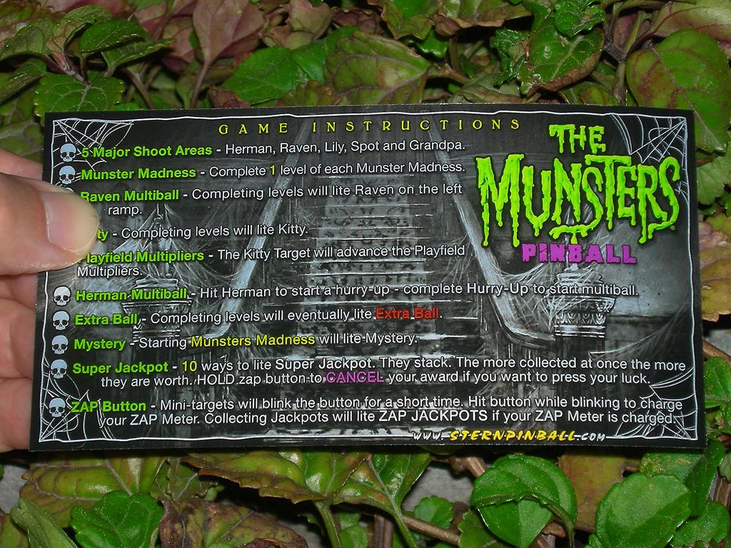 The Munsters Custom Pinball Card Rules print1c