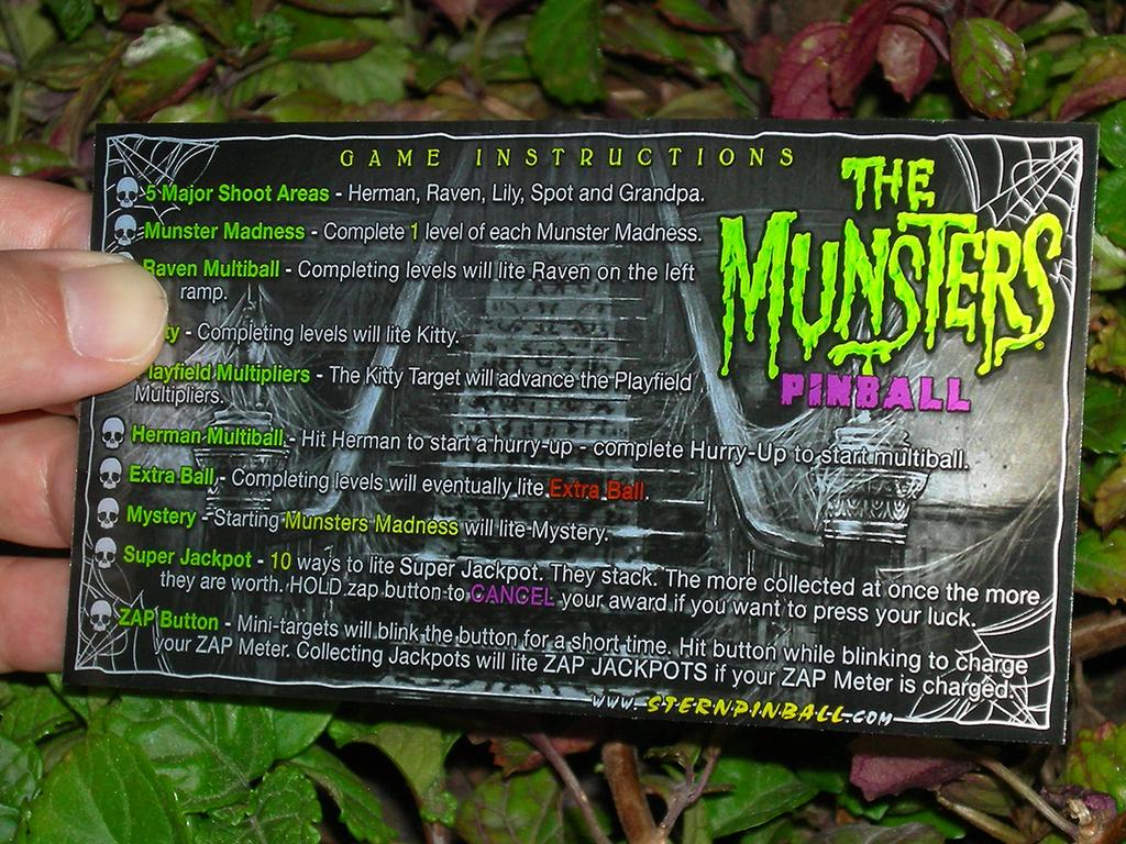 The Munsters Custom Pinball Card Rules print2c