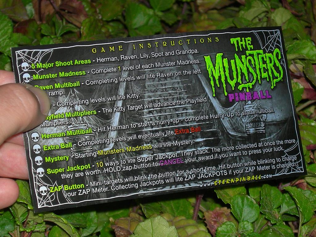 The Munsters Custom Pinball Card Rules print3c
