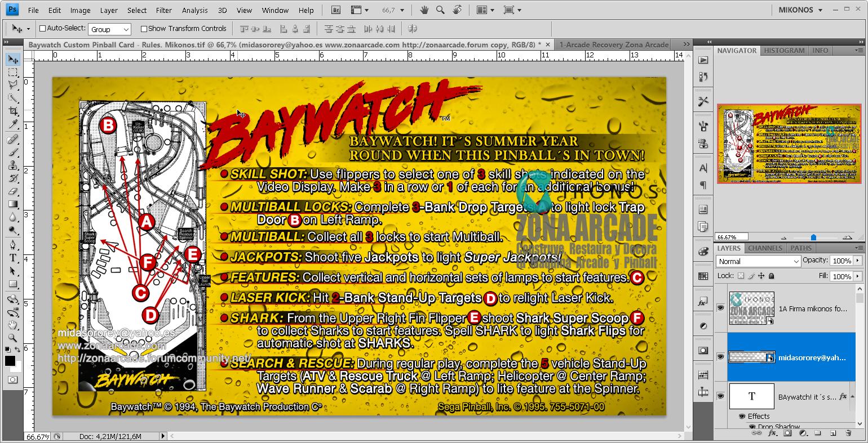 Baywatch Pinball Card Customized - Rules. Mikonos1