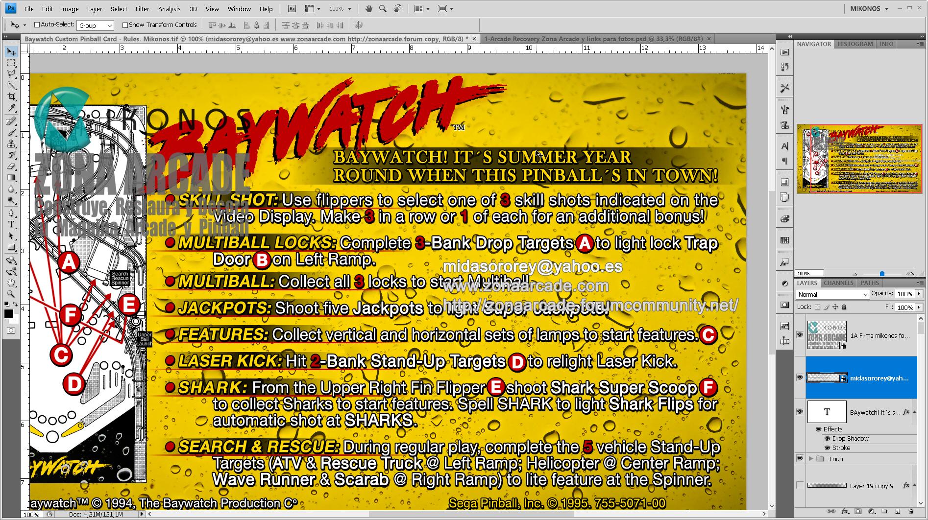 Baywatch Pinball Card Customized - Rules. Mikonos2