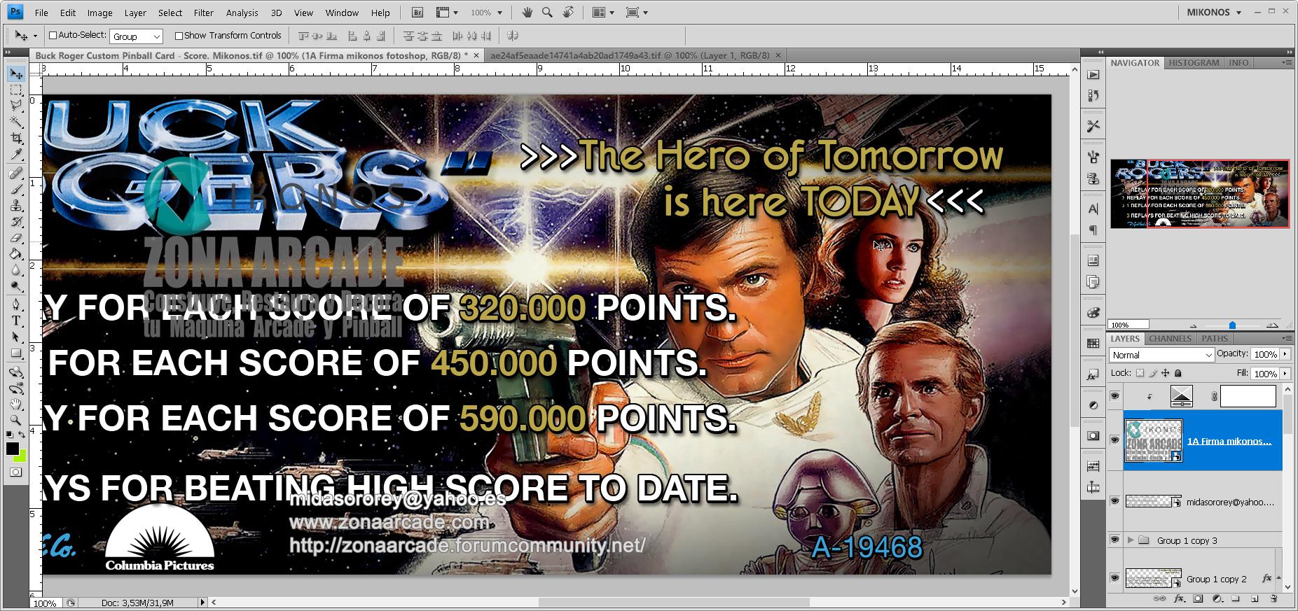 Buck Rogers Pinball Card Customized - Score. Mikonos1