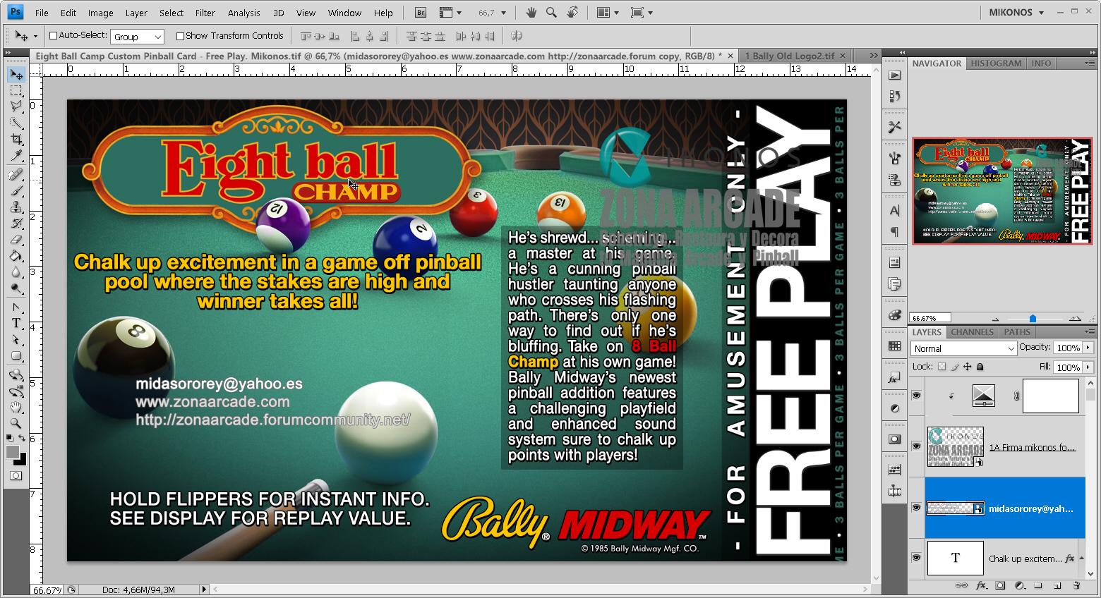 Eight Ball Champ Pinball Card Customized - Free Play. Mikonos1