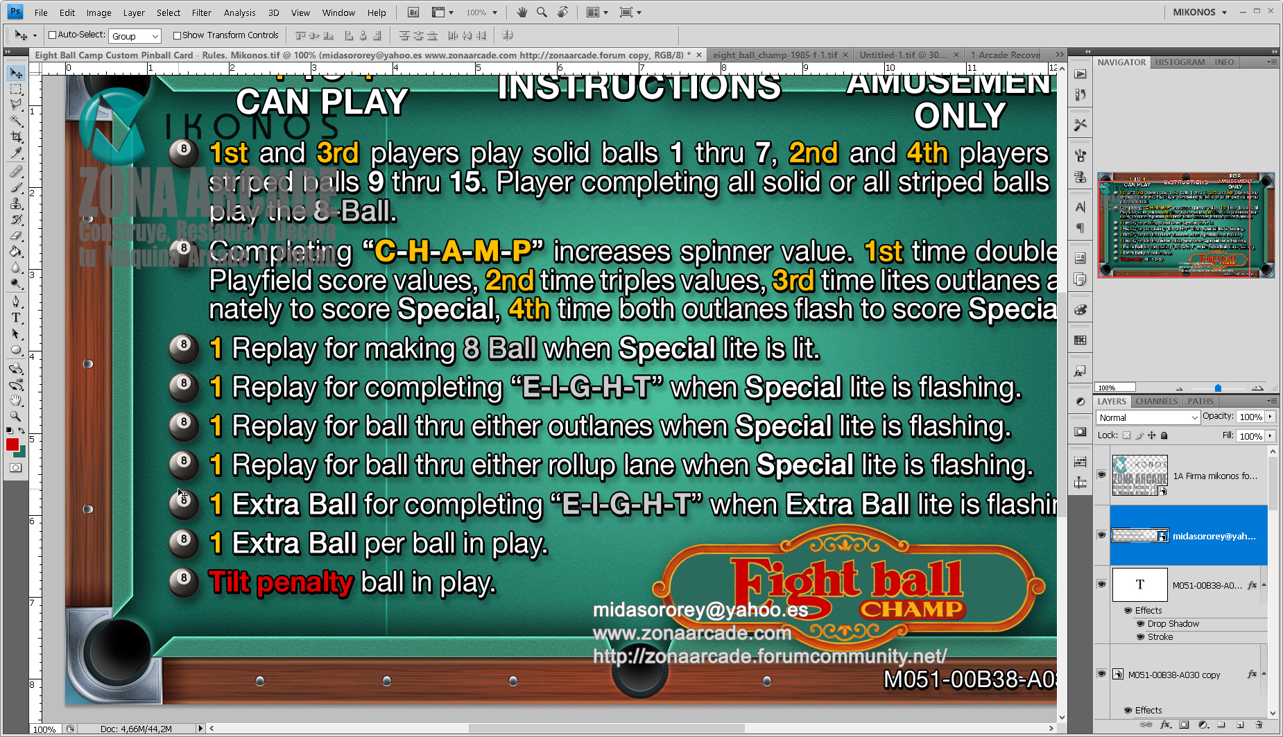 Eight Ball Champ Pinball Card Customized - Rules. Mikonos2