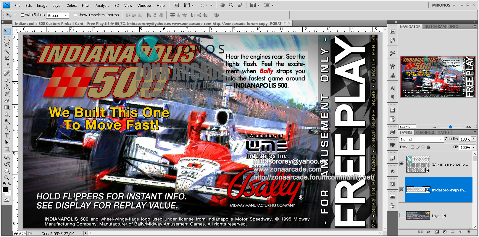 Indianapolis 500 Pinball Card Customized - Free Play. Mikonos1
