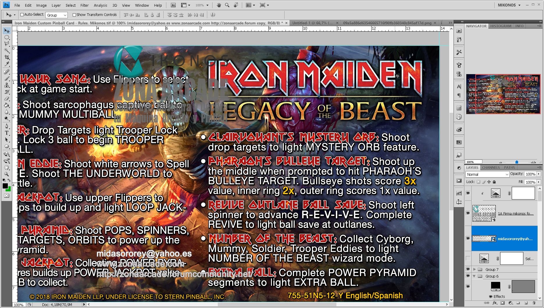 Iron Maiden Legacy of the Beast Pinball Cards Customized