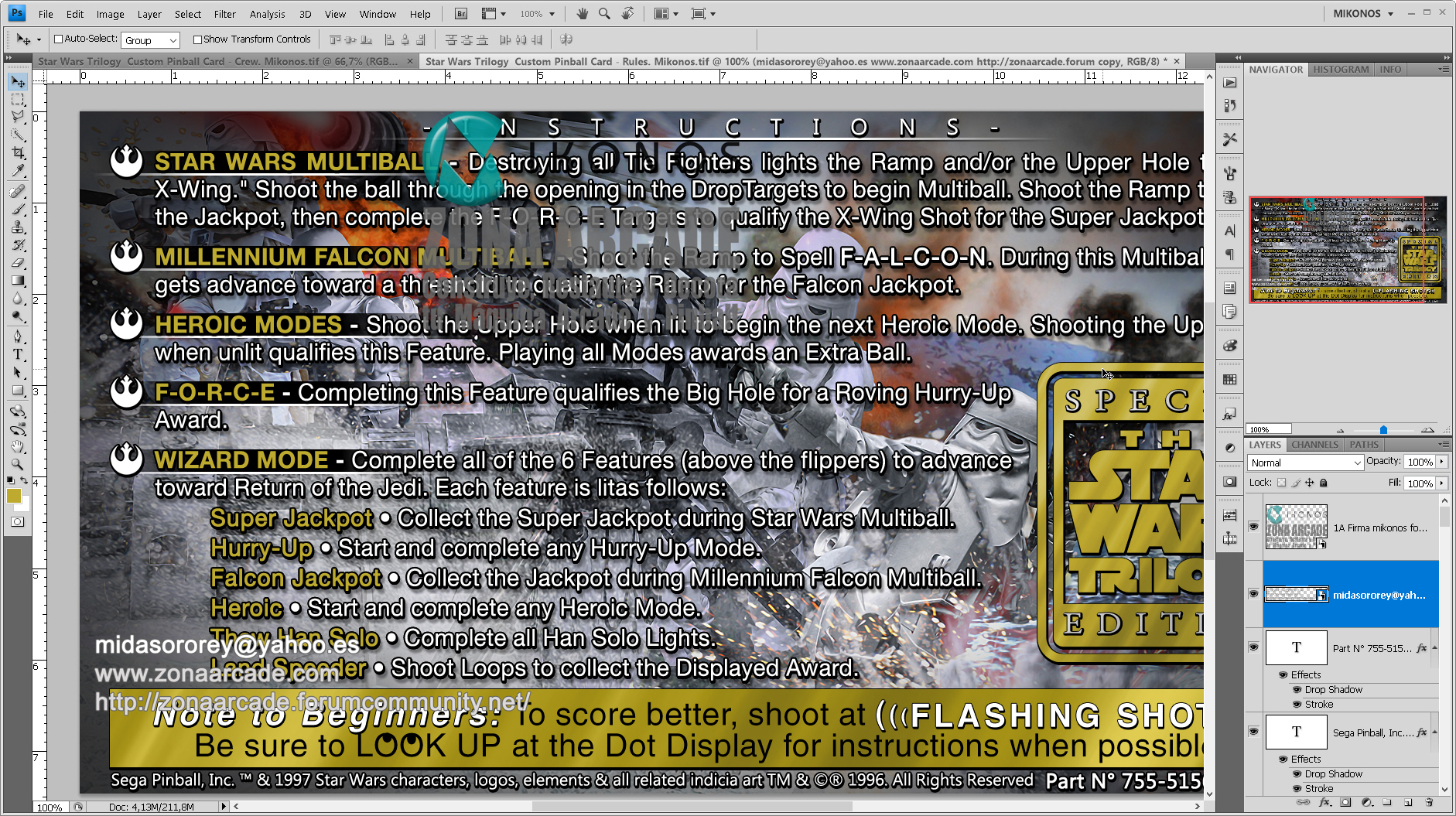 Star Wars Trilogy Pinball Card Customized - Rules. Mikonos2