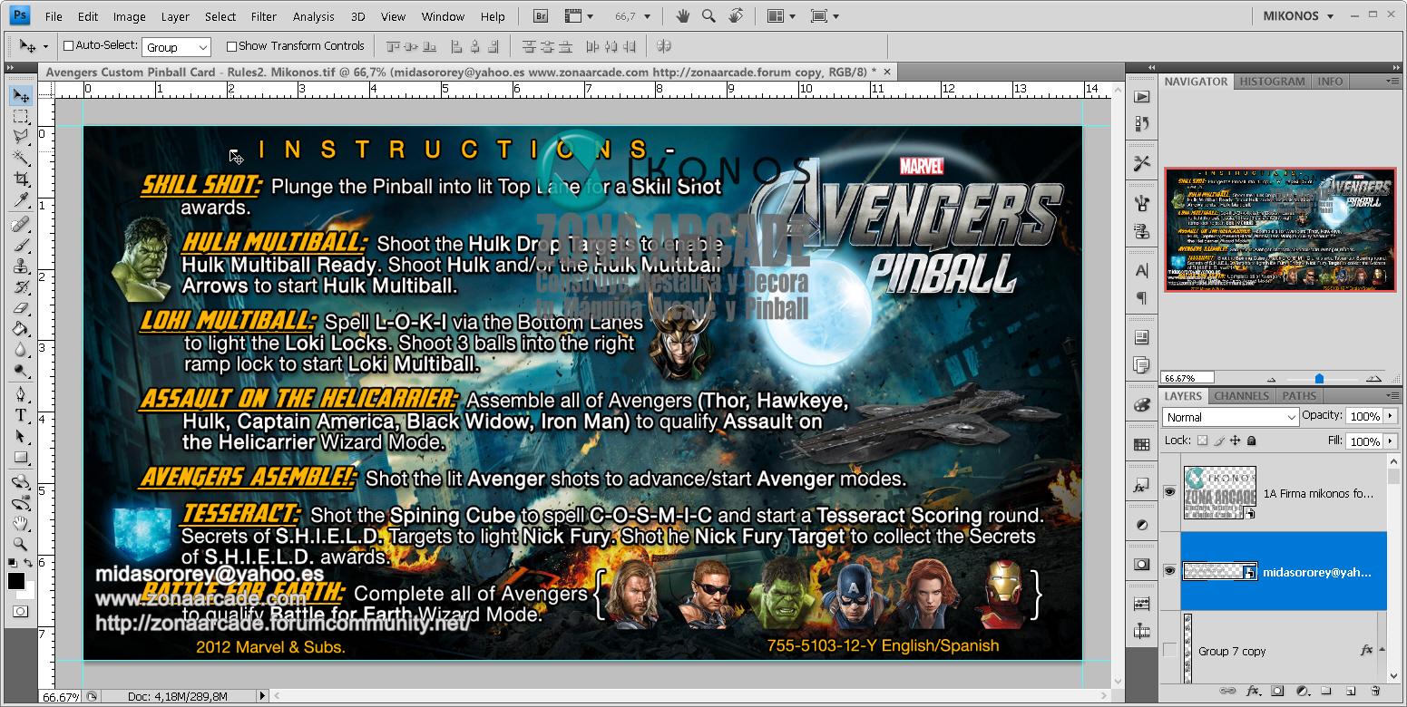 The Avengers Custom Pinball Card - Rules. Mikonos1