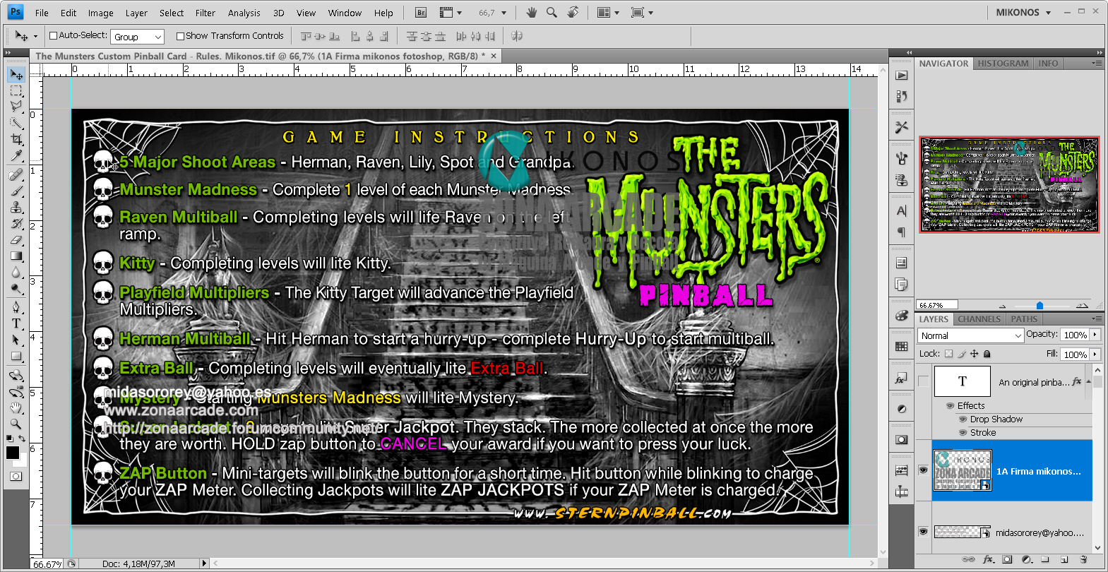 The Munsters Pinball Card Customized - Rules. Mikonos1