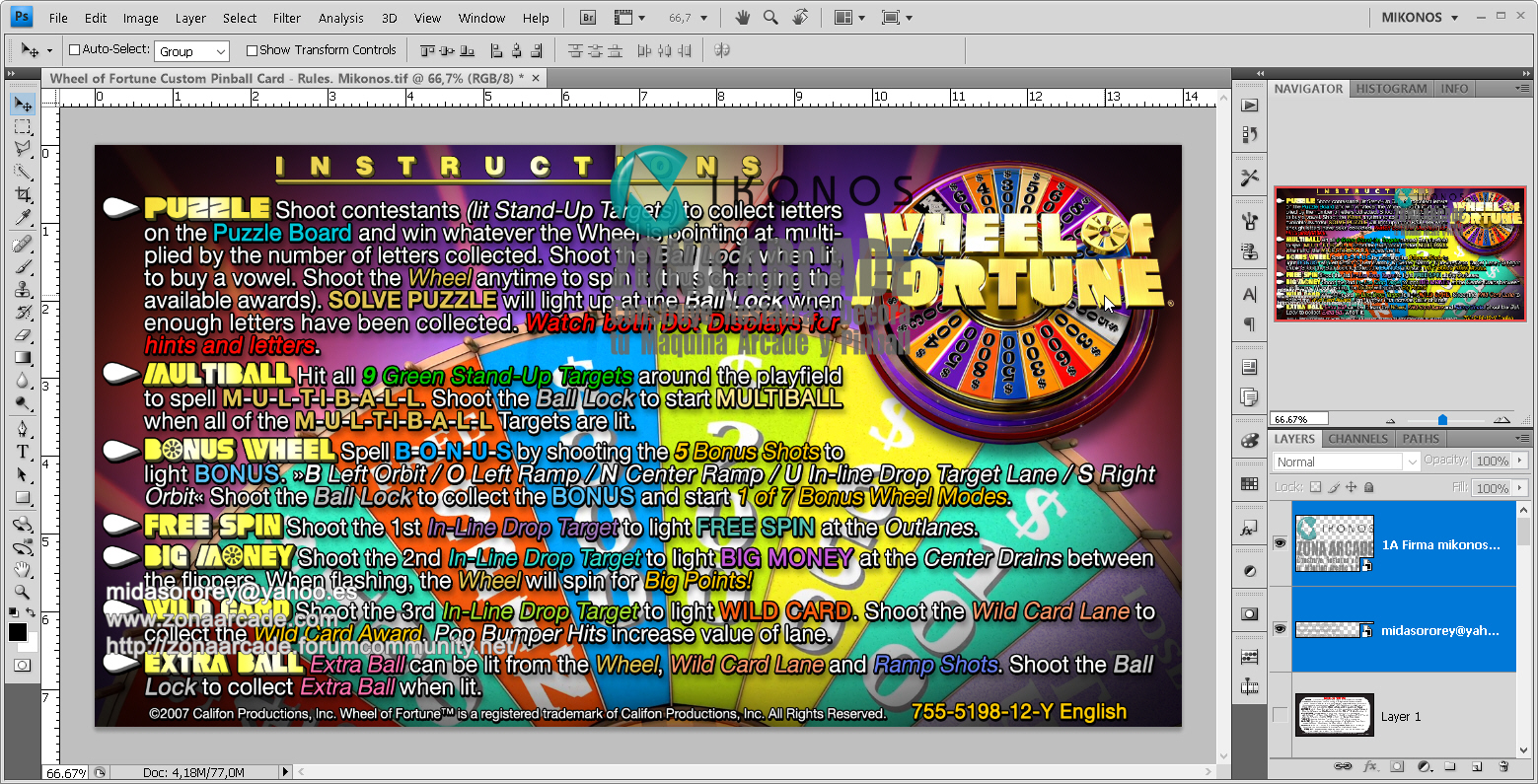 Wheel of Fortune Pinball Card Customized - Rules. Mikonos1