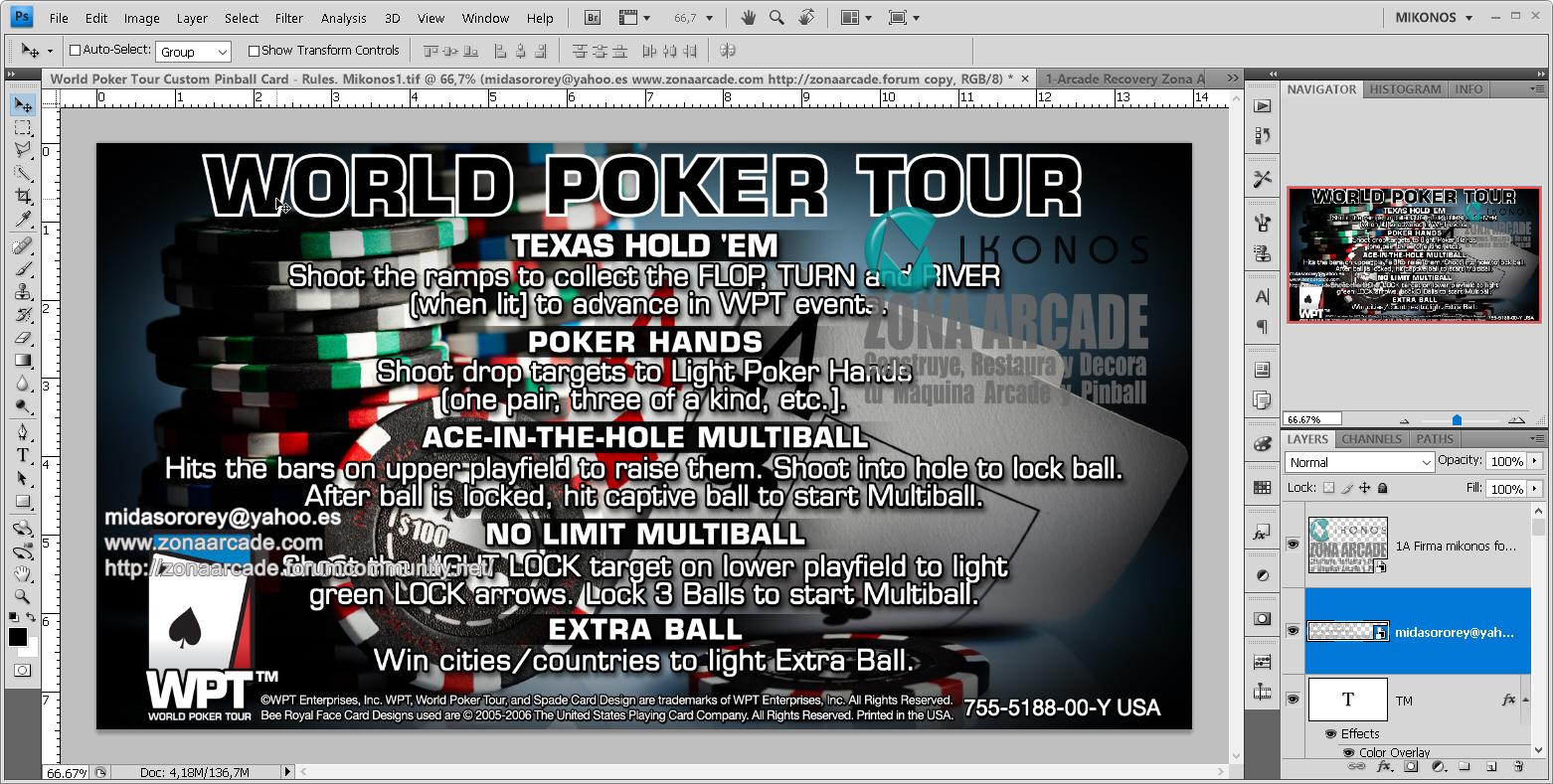 World Poker Tour Pinball Card Customized - Rules. Mikonos1