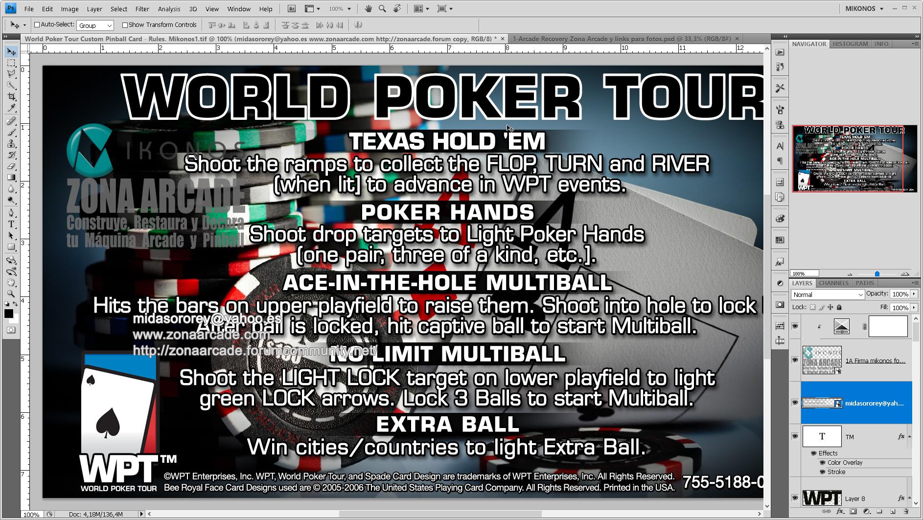 World Poker Tour Pinball Card Customized - Rules. Mikonos2